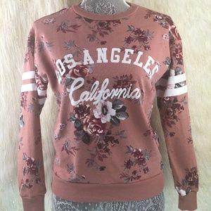 Vintage Inspired Floral Design Long Sleeve Sz SM